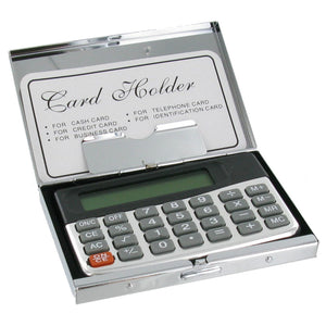 Plain Stainless Steel Business Card Holder with Calculator