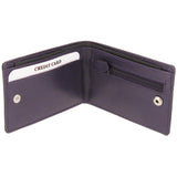 Black & Purple Calf Leather Slim Fold Notecase