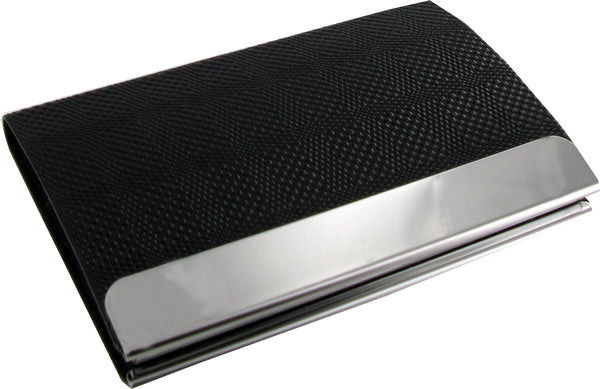 Black PU Business Card Holder with Polished Plate Suitable for Engraving