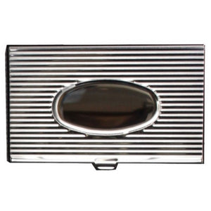Stainless Steel Business Card Holder with Lines & Oval