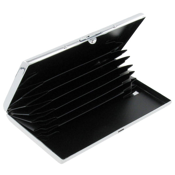 Stainless Steel Business Card Holder with Black Plastic Fan Insert