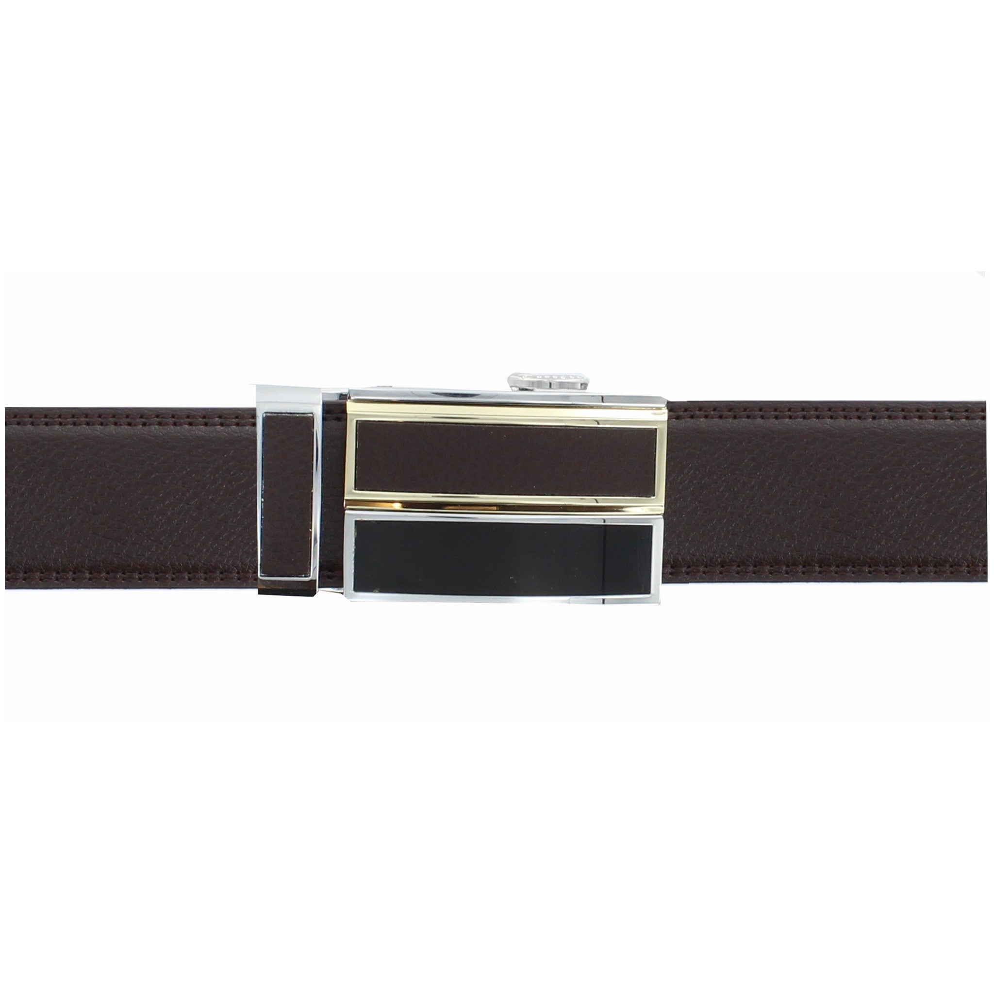 Automatic Ratchet Brown Leather Belt with Dual Brown Buckle