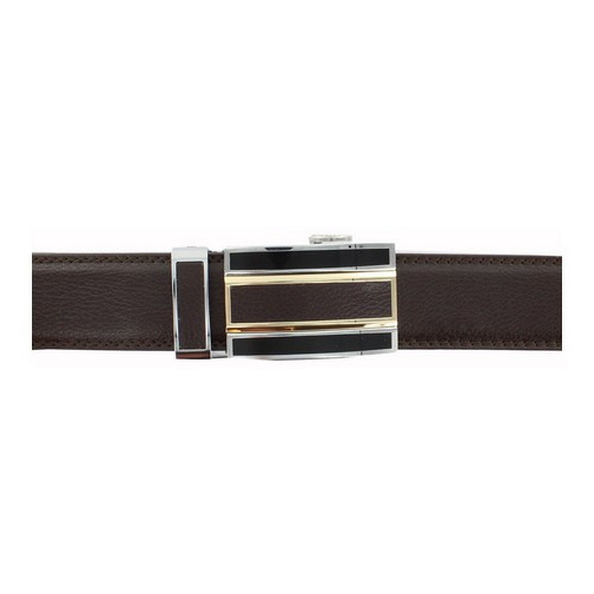 Automatic Ratchet Brown Leather Belt with Triple Brown Buckle