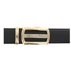 Black Leather Belt with Rose Gold Buckle