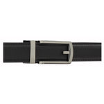 Black Leather Belt with Gun Brushed Buckle