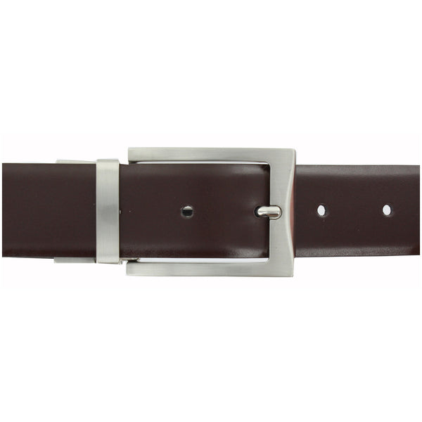 Reversible Pull &Twist Black/ Brown Leather Belt with Nickel Satin Buckle