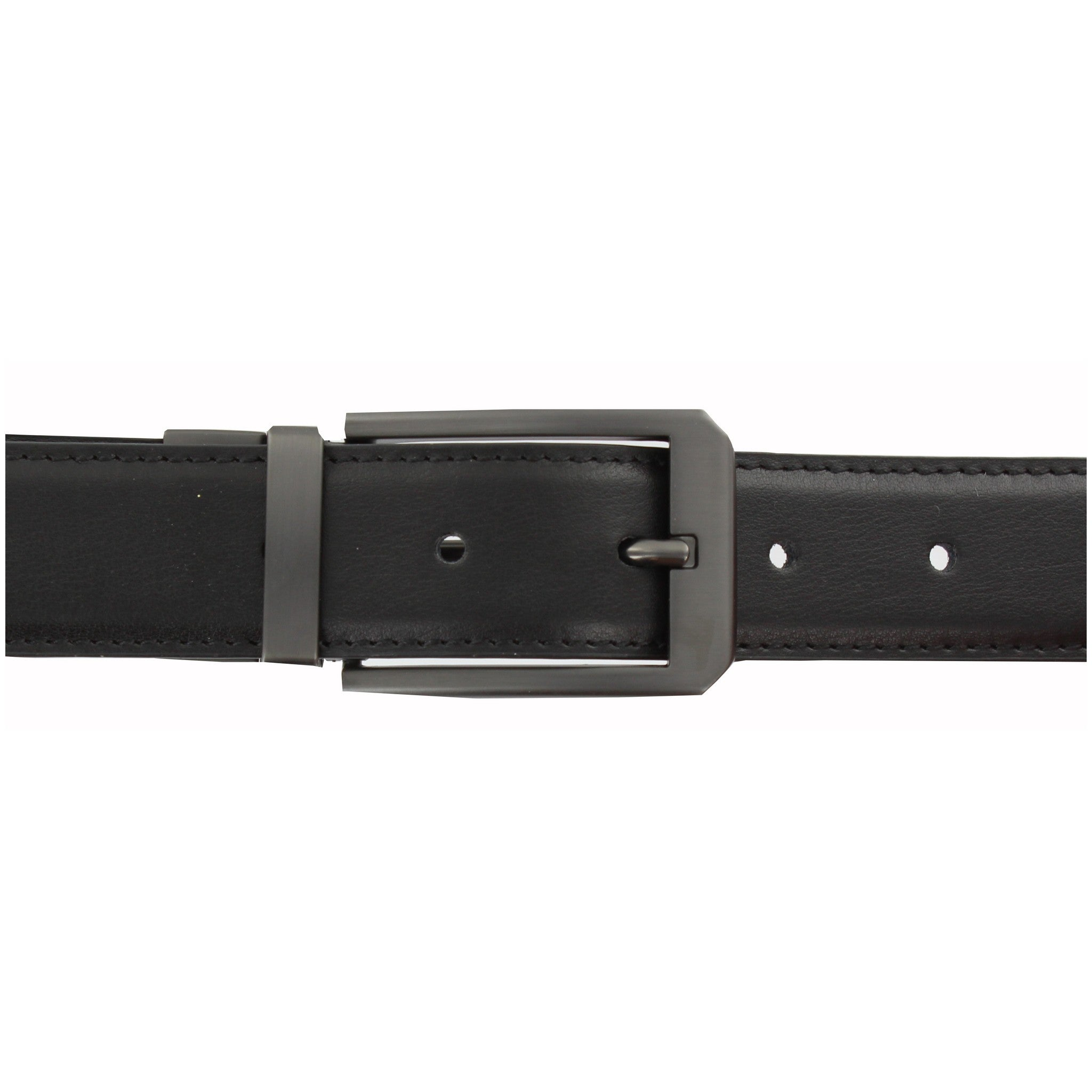 Reversible Pull & Twist Black/Brown Leather Belt with Gun Matte Buckle
