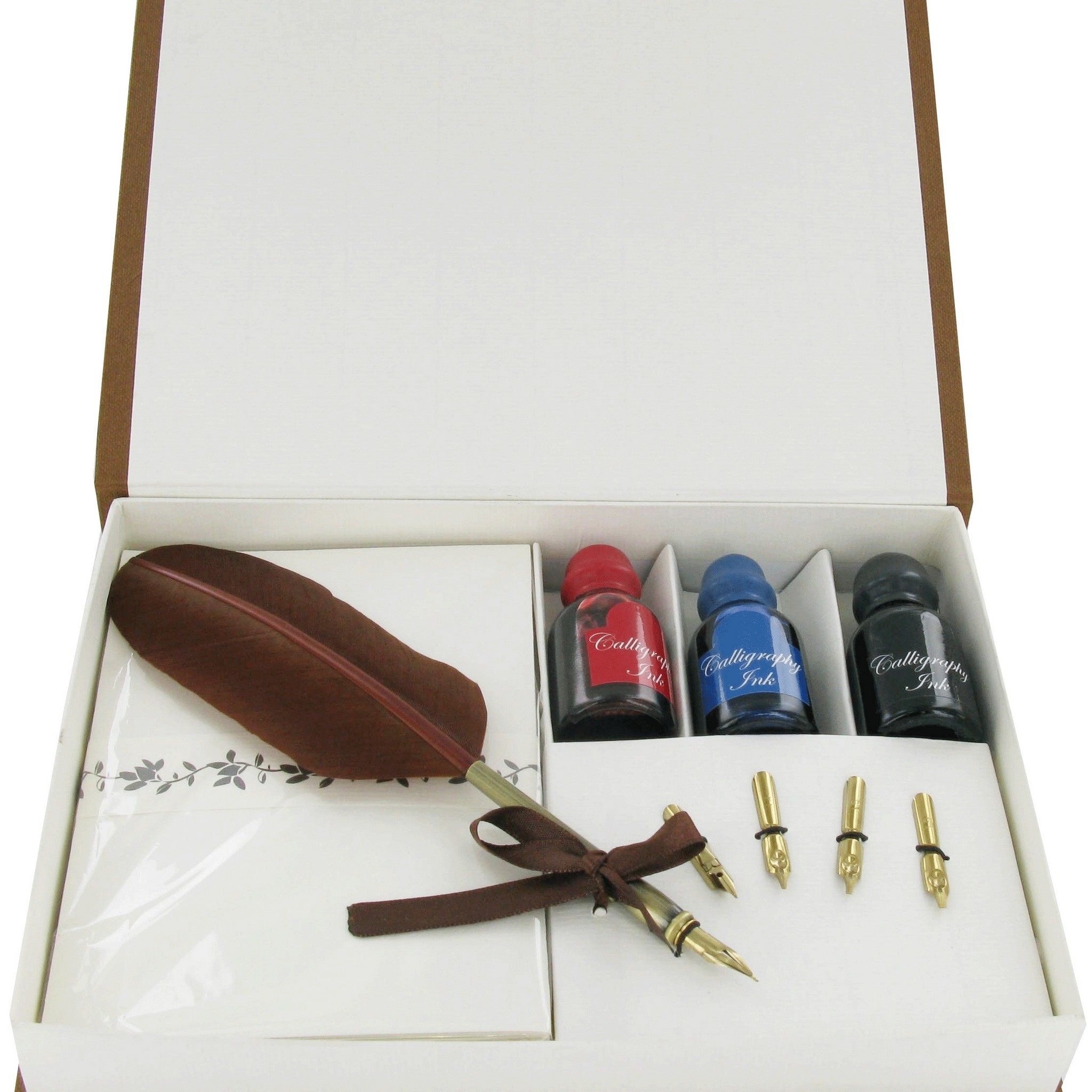 Calligraphy Quill Pen Set, 4 Nibs, 3, Inks & Stationary