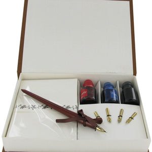 Calligraphy Wood Pen Set, 4 Nibs, 3 Inks & Stationery