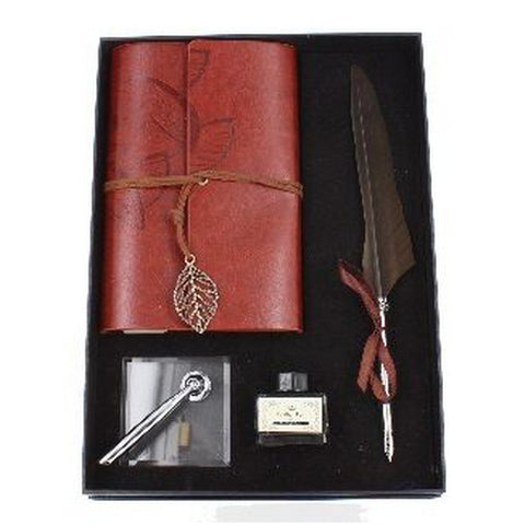 Brown Feather Quill Calligraphy Set, Stand & Notebook