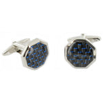 Blue Carbon Cuff Links