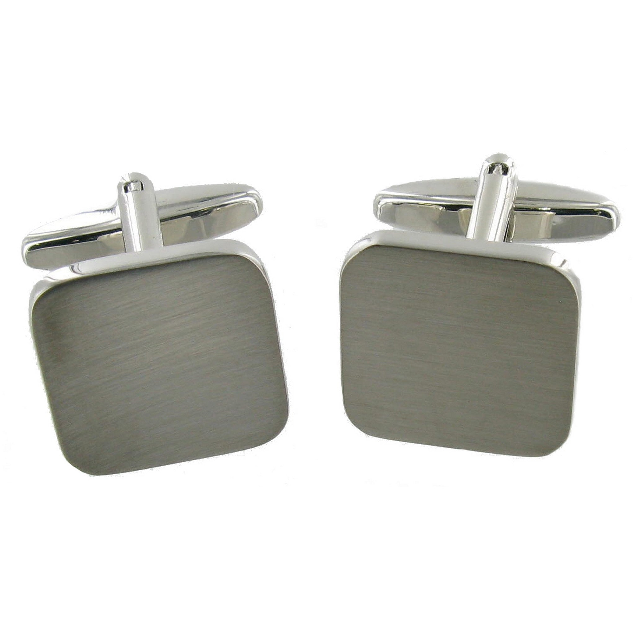 Square Brushed Chrome Cuff Links