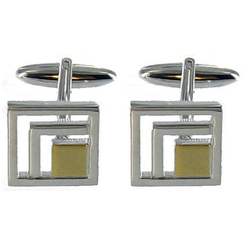 Rhodium Brushed Gold Cuff Links