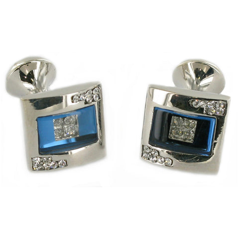 Blue with Crystal Insert Cuff links
