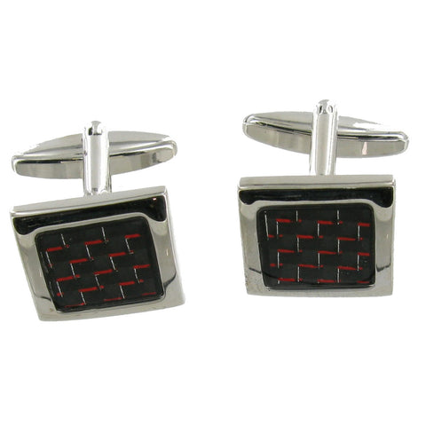 Black and Red Square Cuff Links