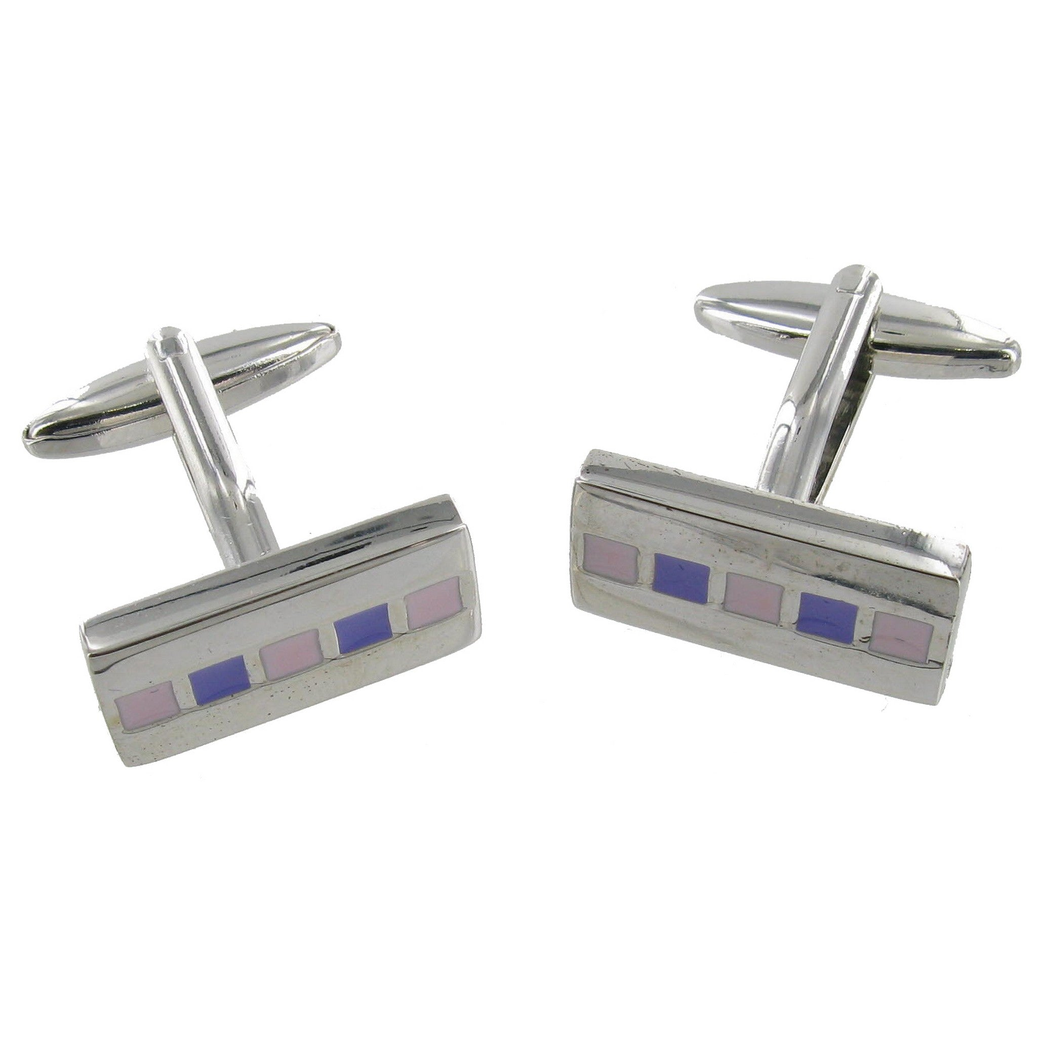 Chrome Purple Bar Cuff Links