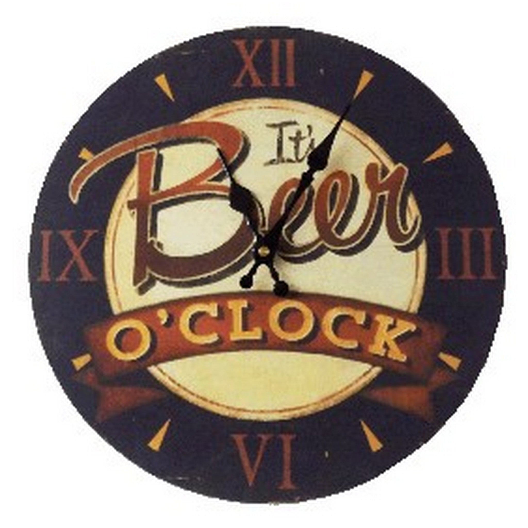 Beer O'clock Wall Clock, 34 cm diameter