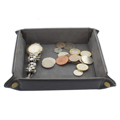 Black PU Coin Tray with Grey Lining Perfect for Desk