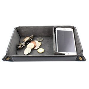 Desk Black PU Coin, Phone and Watch Tray with Divider & Grey Lining