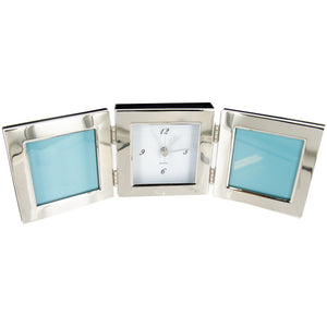 "Nickel Plated 3x3"" Photo Frame with Clock"