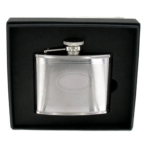Stainless Steel Engine Turned 4oz Hip Flask With Oval