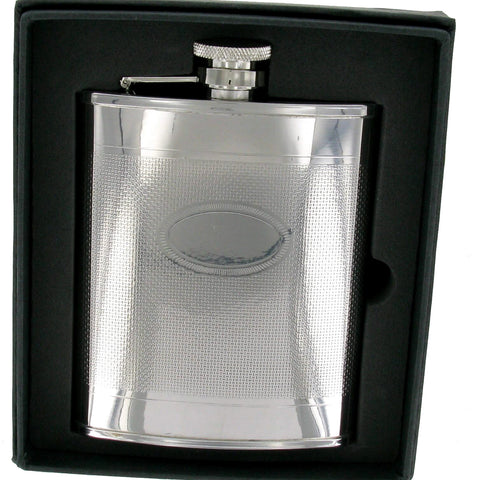 Stainless Steel Engine Turned 6oz Hip Flask With Oval