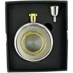 Stainless Steel Porthole Hip Flask & Funnel Set