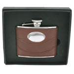 Brown Spanish Leather Hip Flask 4oz with Engaving Plate