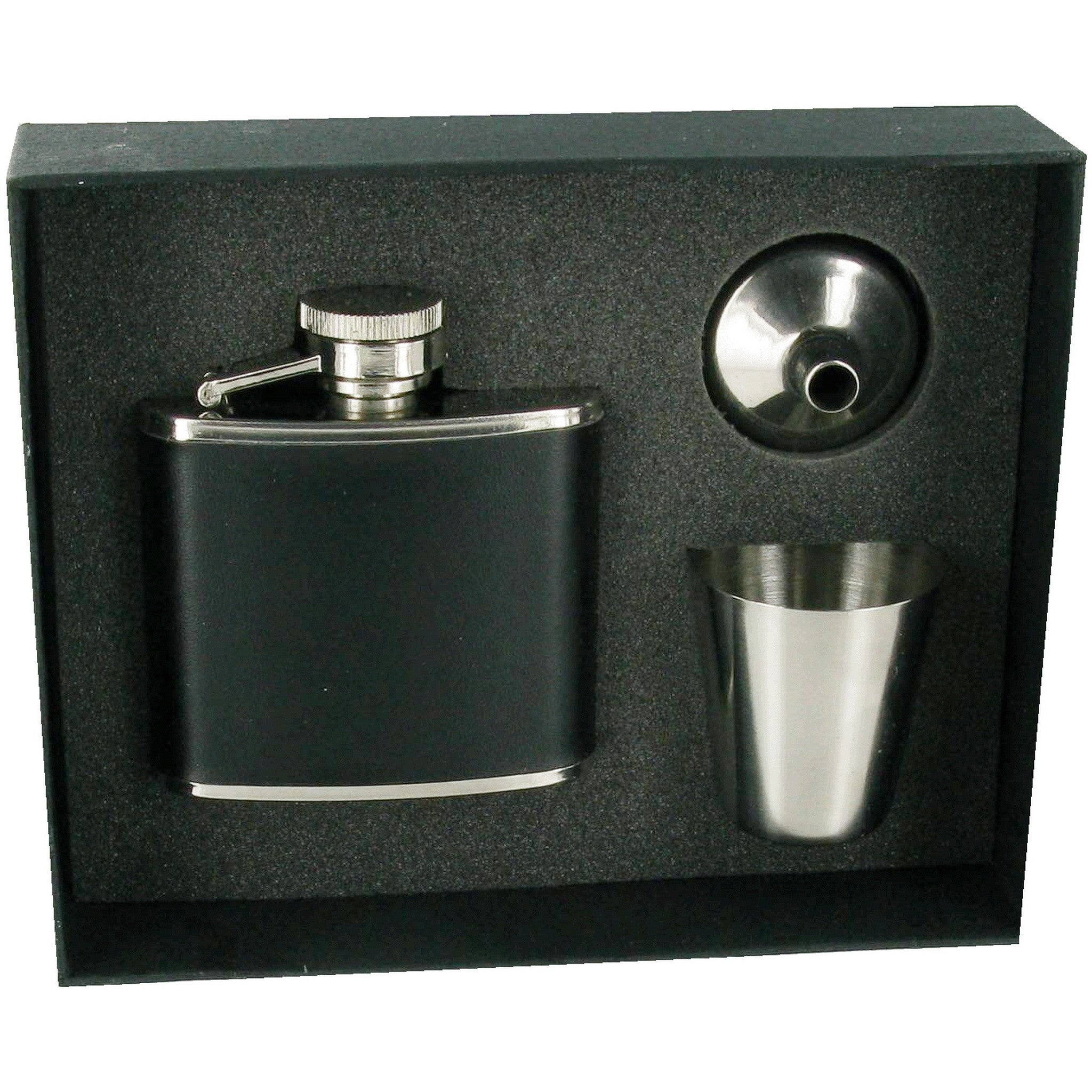 Black PU Covered Hip Flask 2oz, Funnel & Cup Set