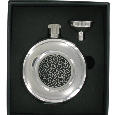 Stainless Steel Round Celtic Hip Flask 5oz & Funnel Set
