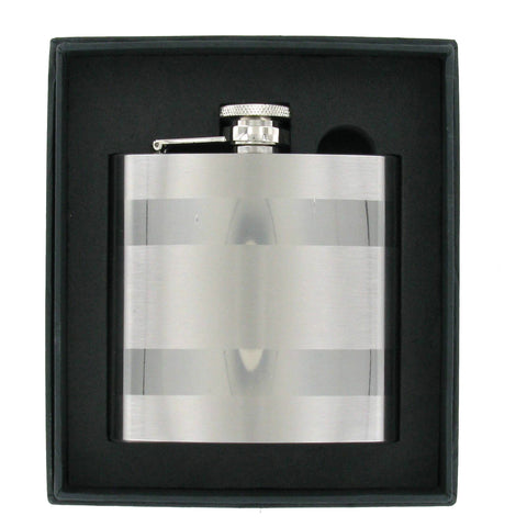 Stainless Steel High Polish, Brushed Stripes 6oz Hip Flask