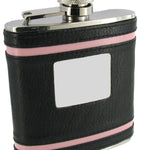 Stainless Steel 6 oz Black & Pink Leather Covered Hip Flask With Engraving Plate