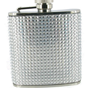 Silver Bling Decal Hip Flask 6oz