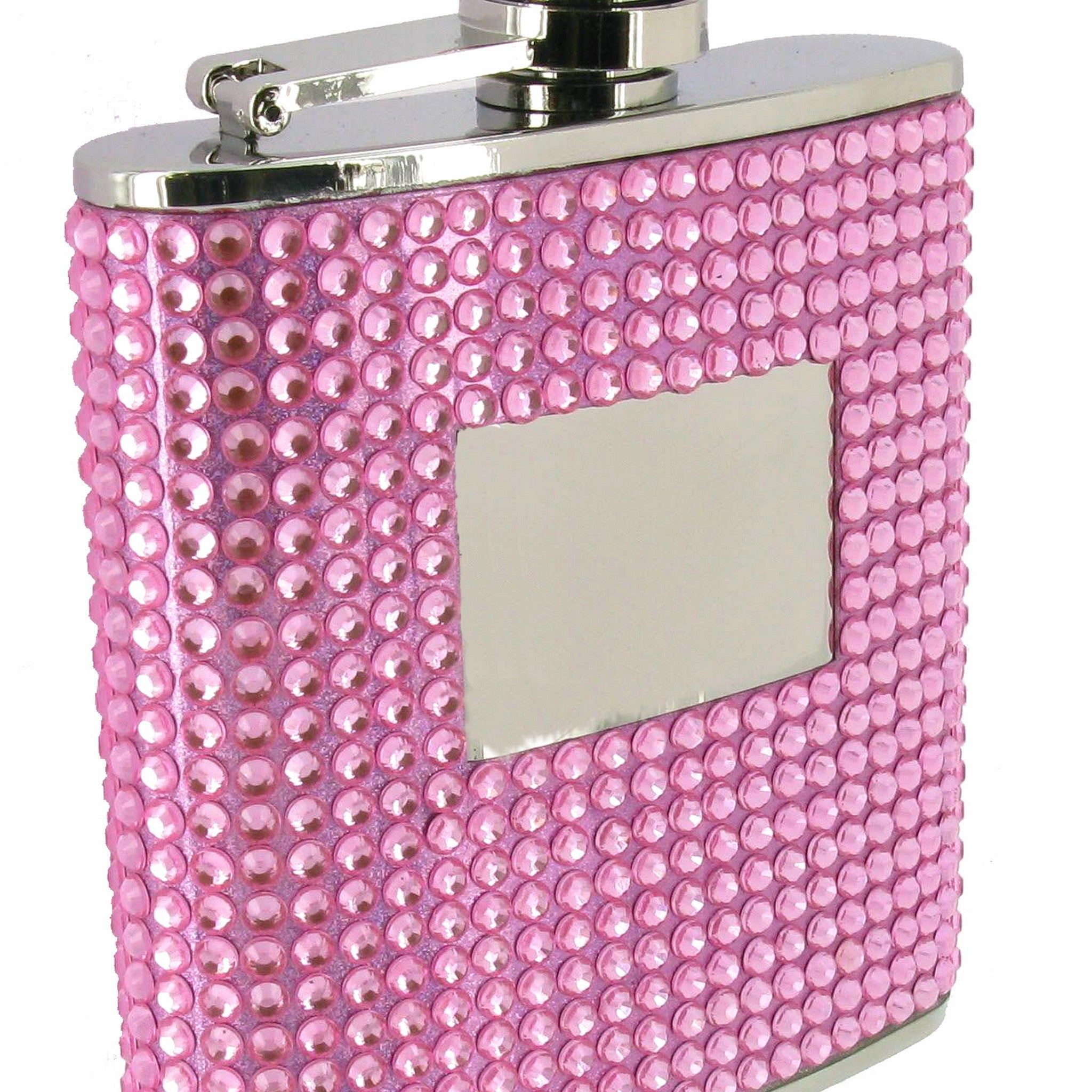 Pink Bling Decal Hip Flask 6oz with Engraving Plate