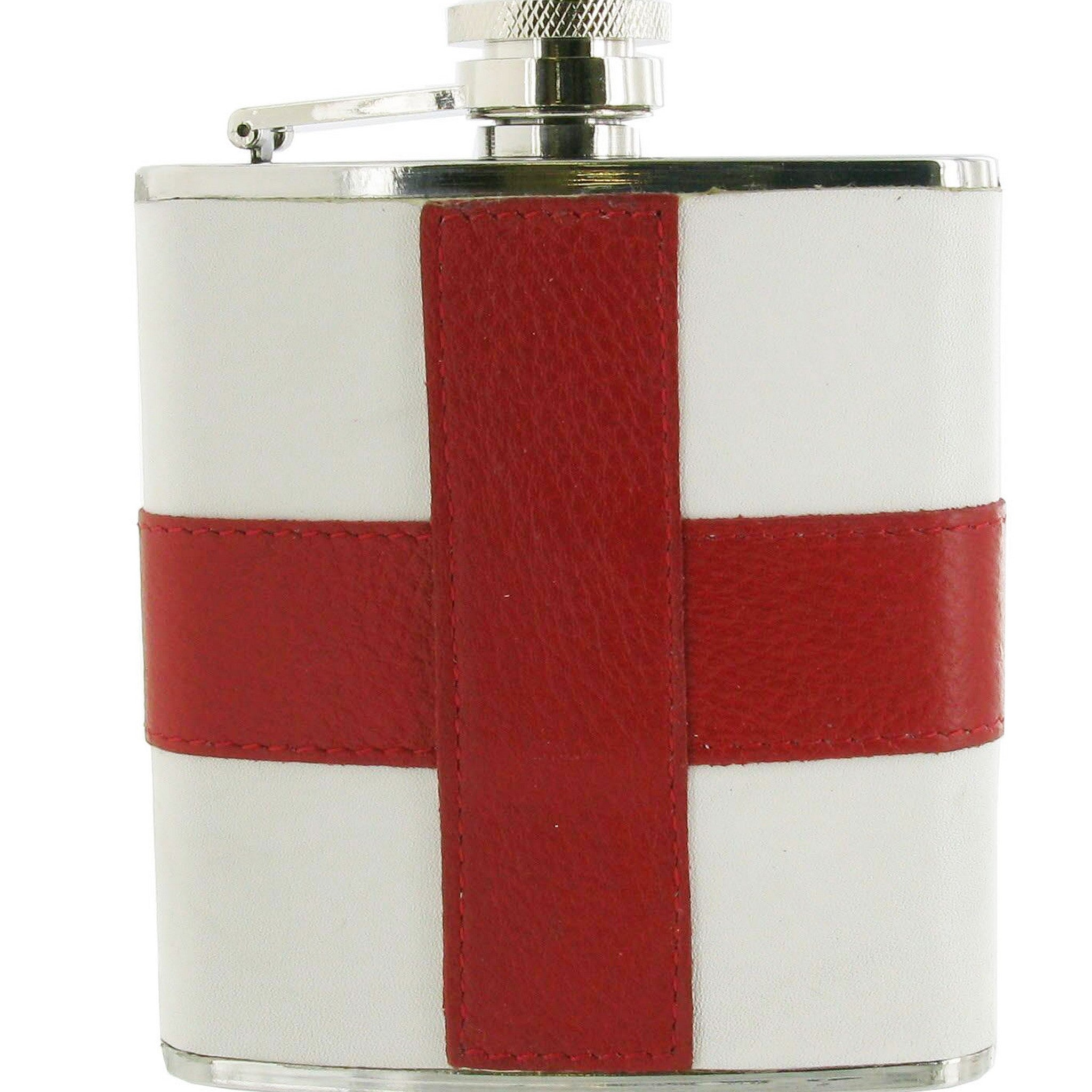 Leather Covered St. Georges Flag Design Stainless Steel Hip Flask