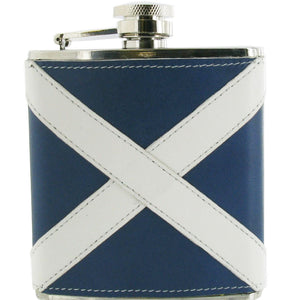 Leather Covered Scottish Flag Design Stainless Steel Hip Flask