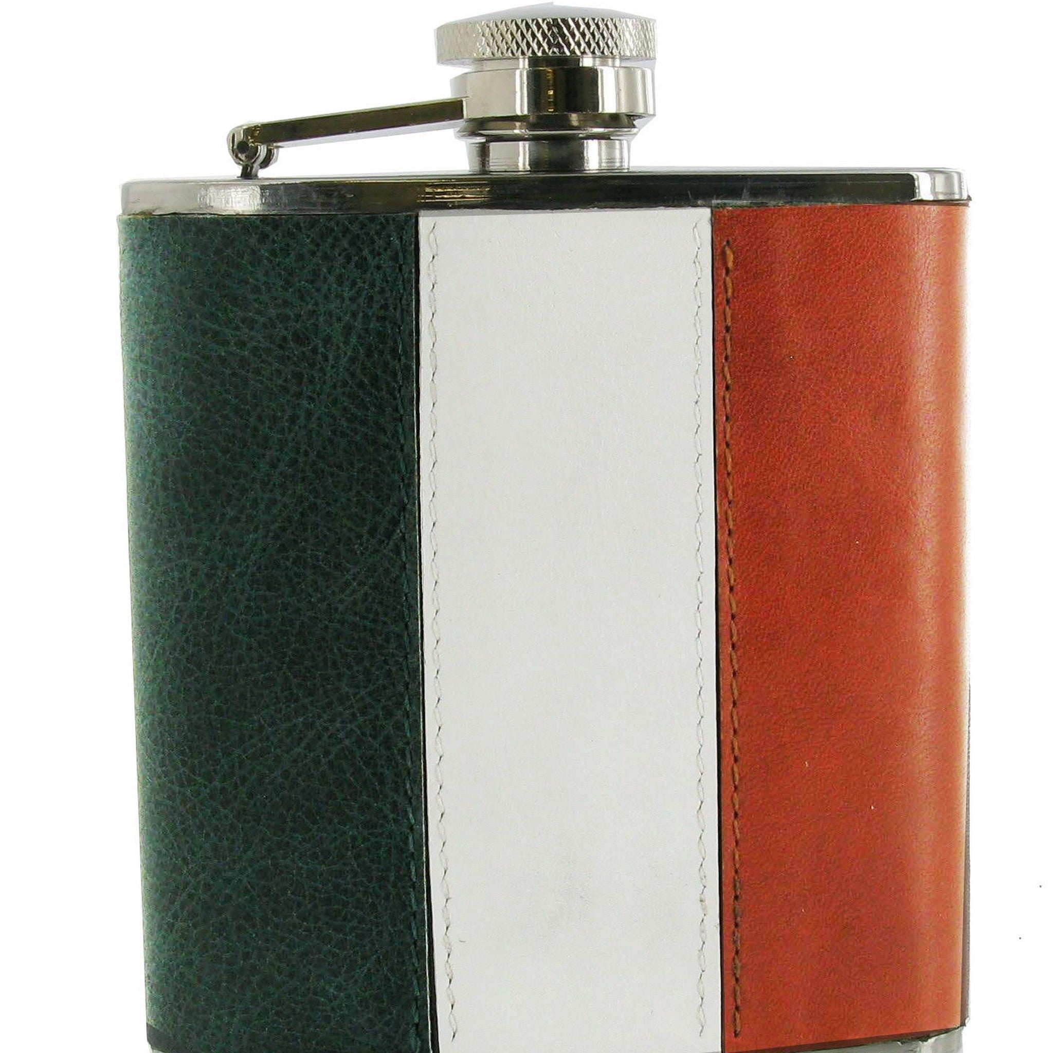 Leather Covered Irish Tricolour Flag Design Stainless Steel Hip Flask