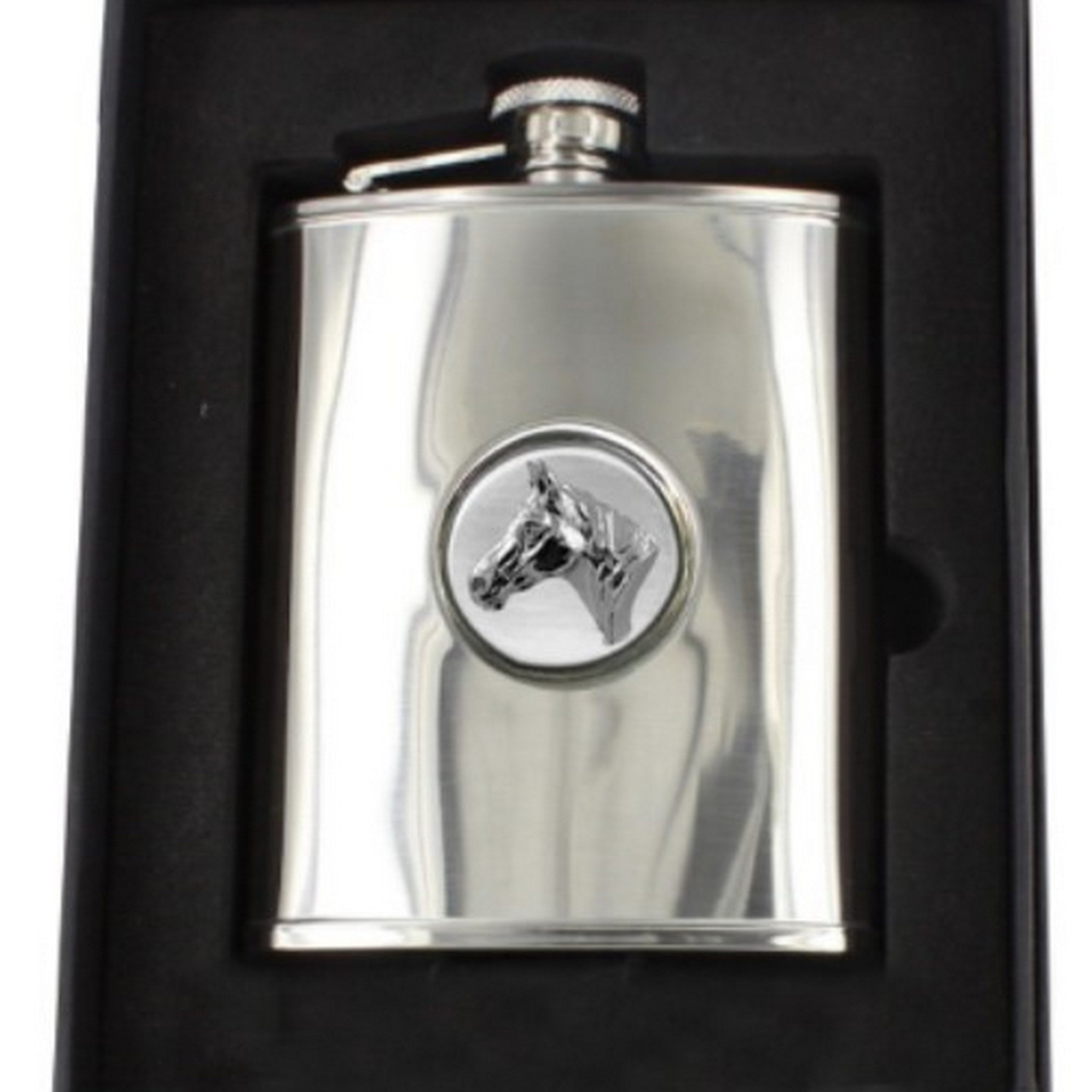 Stainless Steel Engine Turned 6oz Hip Flask With Horses Head Badge