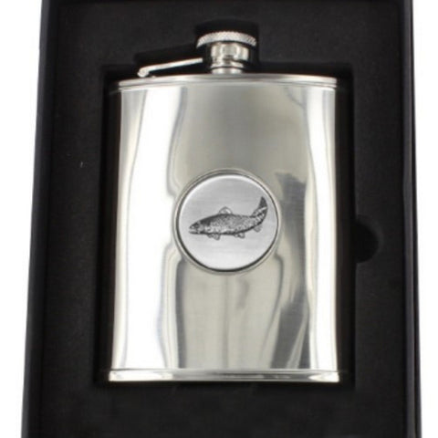 Stainless Steel Engine Turned 6oz Hip Flask With Fish Badge