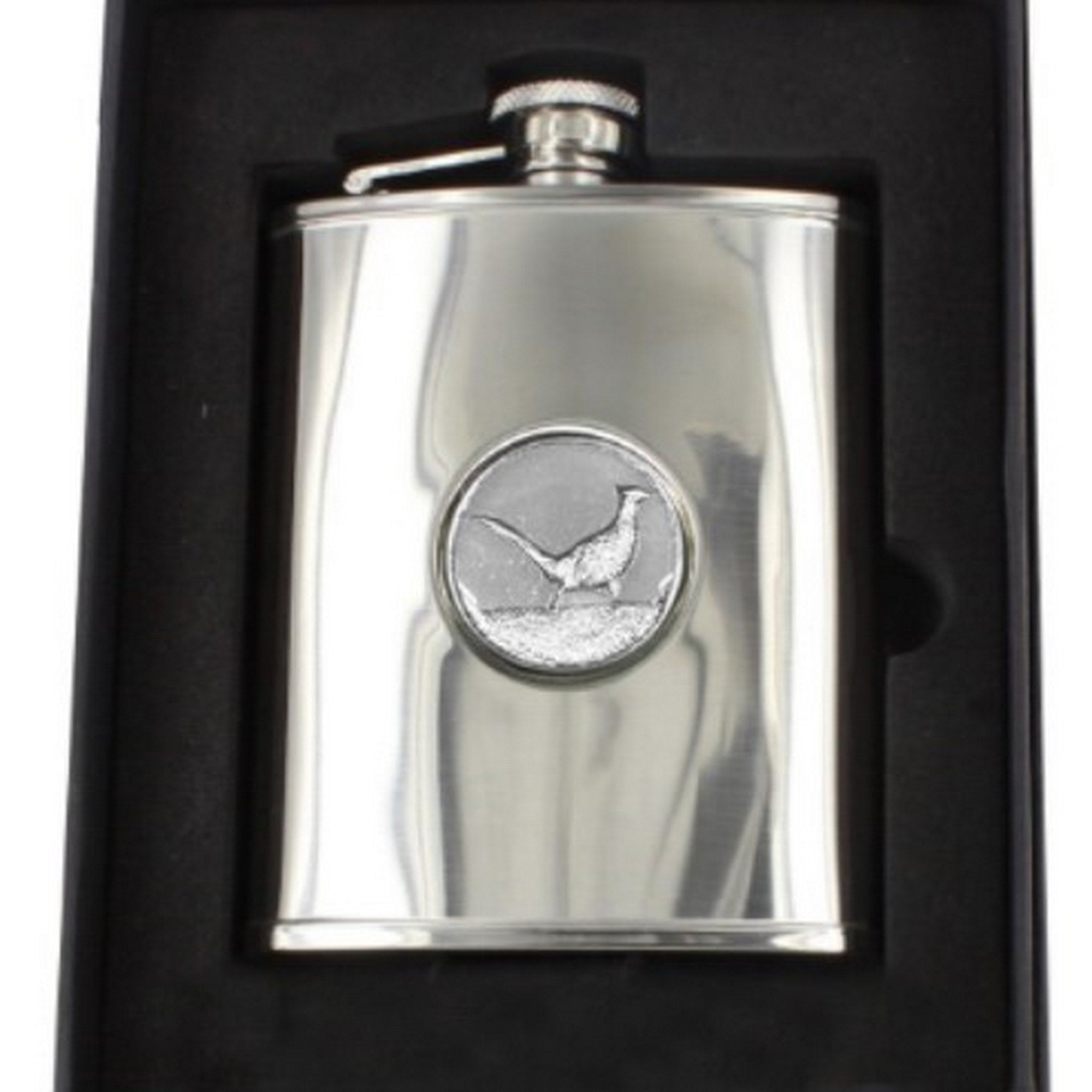 Stainless Steel Engine Turned 6oz Hip Flask With Stag Badge