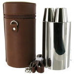 3 Flask Hunting Set 24 oz Brown Spanish Leather  with Tot Cups