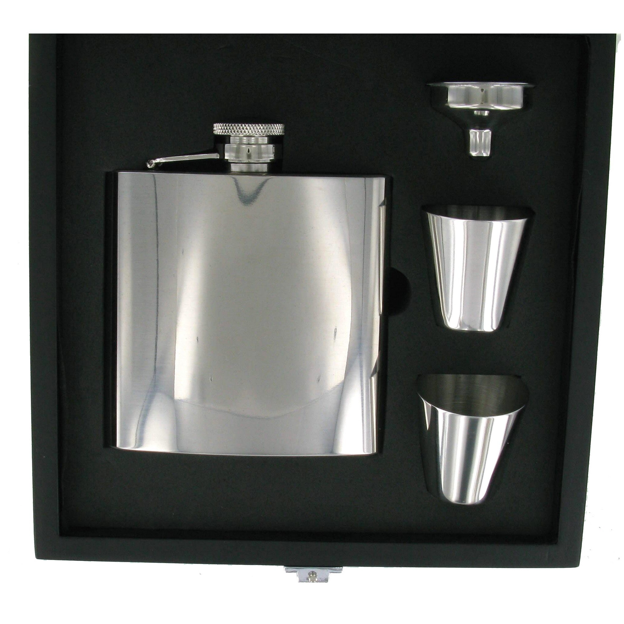 Stainless Steel Plain High Polished 6oz Hip Flask with Funnel & 2 Cups