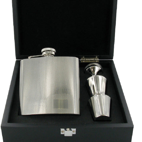 Stainless Steel Satin Finish with Twin High Polished Lines with Funnel & 2 Cups