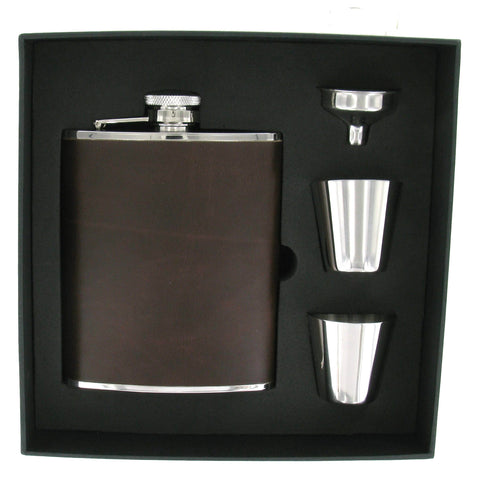 Brown PU Hip Flask 6oz with 2 Cups and Funnel