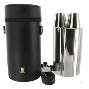 3 Flask 24oz  Hunting Set with Tot Cups in Black Leather Carry Case