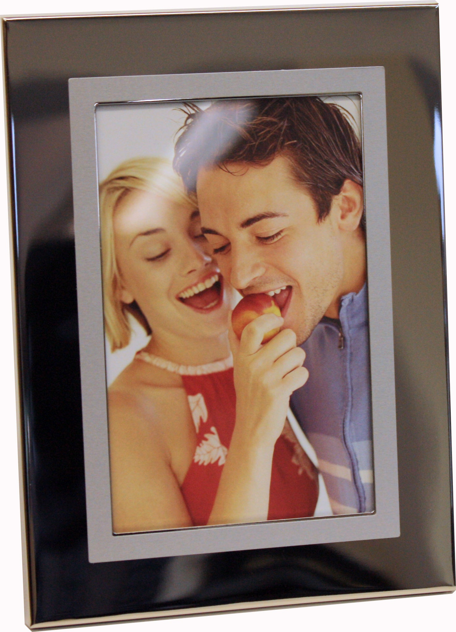 4x6 Nickel Plated Photo Frame with inside Satin Finish Border