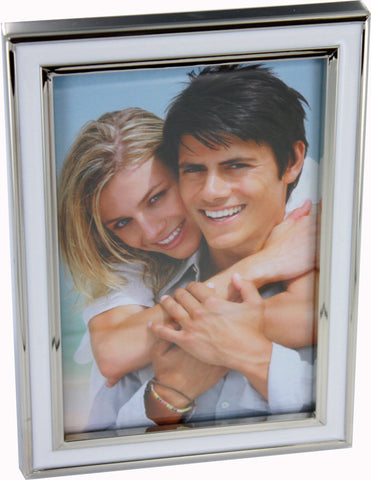 4x6 White Epoxy Resin Nickel Plated Photo Frame