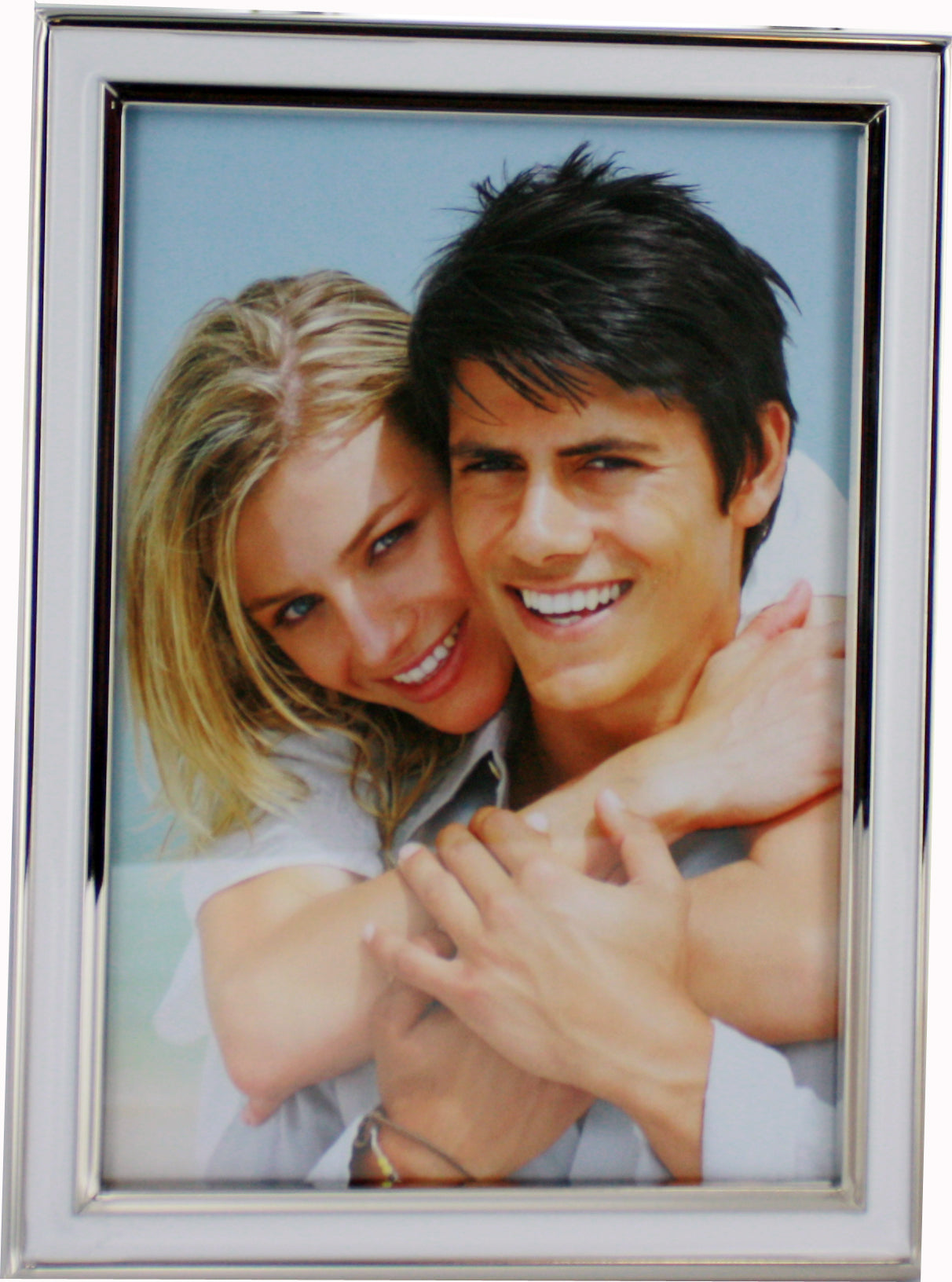 5x7 White Epoxy Resin Nickel Plated Photo Frame