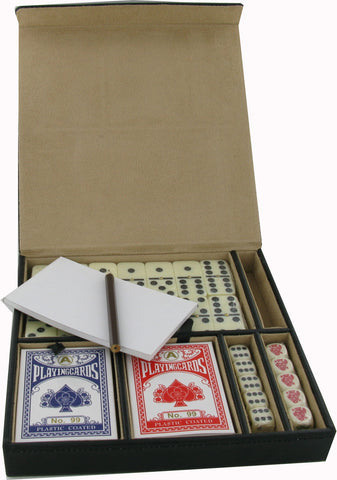 Cards, Dominoes & Dice Set in a High Quality PU Travel Case