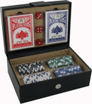 Dice, Cards & Chips Game set in a High Quality PU Travel Box